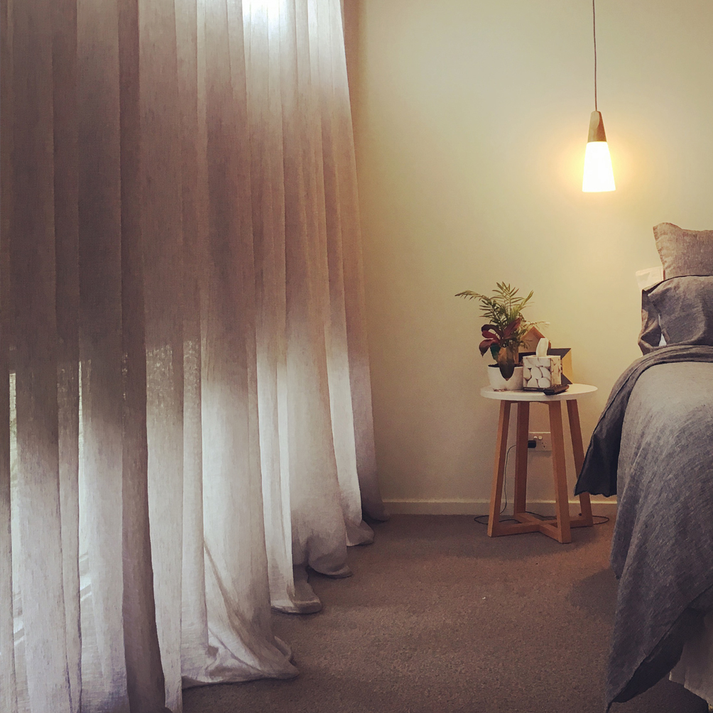 Sheer curtains in a bedroom