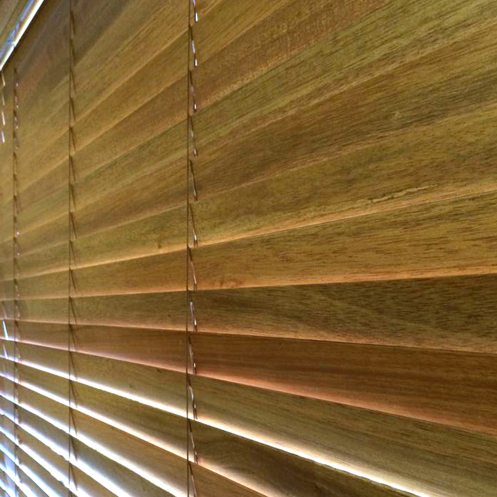 A picture of wooden Venetian Blinds