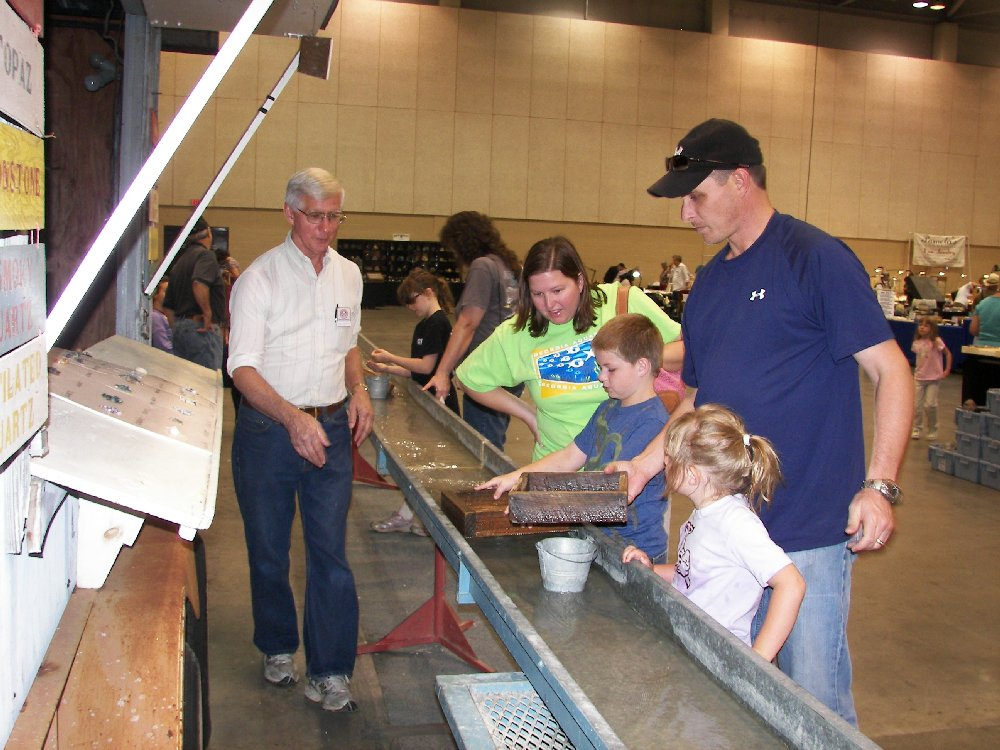Rock mining flume at the Huntsville Gem, Jewelry, and Mineral Show