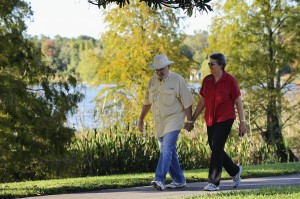 Allyns walking around the lake