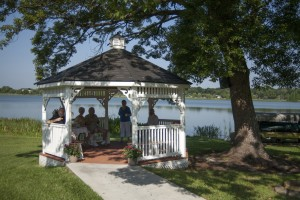Residents Enjoying Gazebo on the Lake