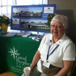 FPH resident Marty Dickey volunteers about 10 hours a week at Good Shepherd Hospice. She is pictured here manning a booth at a recent health fair.