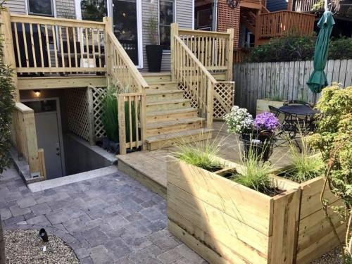 Custom Deck with lattice detailing and planter boxes