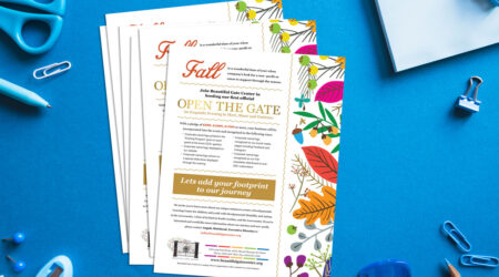 Flyer, brochure, leaflet, print, creative, Beautiful Gate Center, fall, giving, Open the Gate, gold