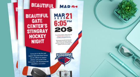Flyer, brochure, Beautiful Gate Center, Stingray, hockey, creative, print, design