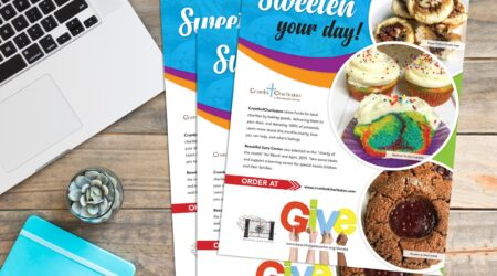 Flyer, Brochure, Beautiful Gate Center, cake, design, creative, giving, community