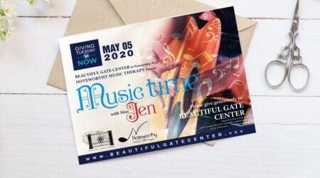 Flyer, brochure, design, creative, mockup, giving, Beautiful Gate Center, music, giving, print