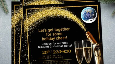 Print, Creative, Bhuumi, party, Christmas, flyer, brochure, Charleston, Bhuumi, sparkle, gold
