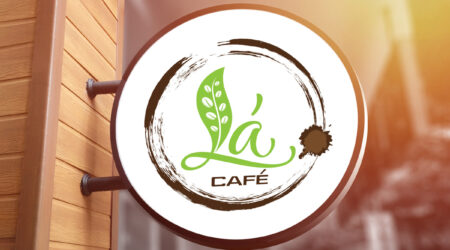 Logo, creative, sign, print, cafe, coffee, shop, design, la Cafe, brown, green