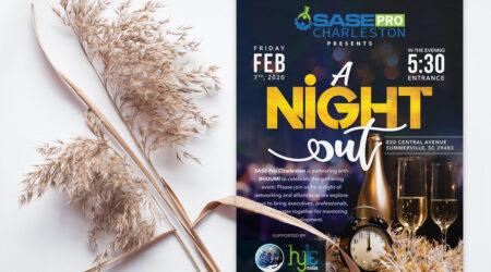 Brochure, design, mockup, print, sase Charleston, night, creative, poster, celebration, party