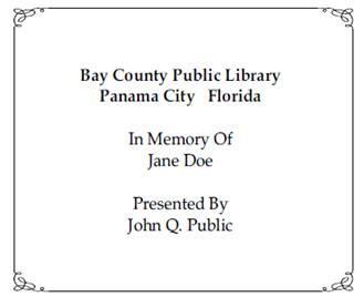 Bookplate Memorial Sample Template
