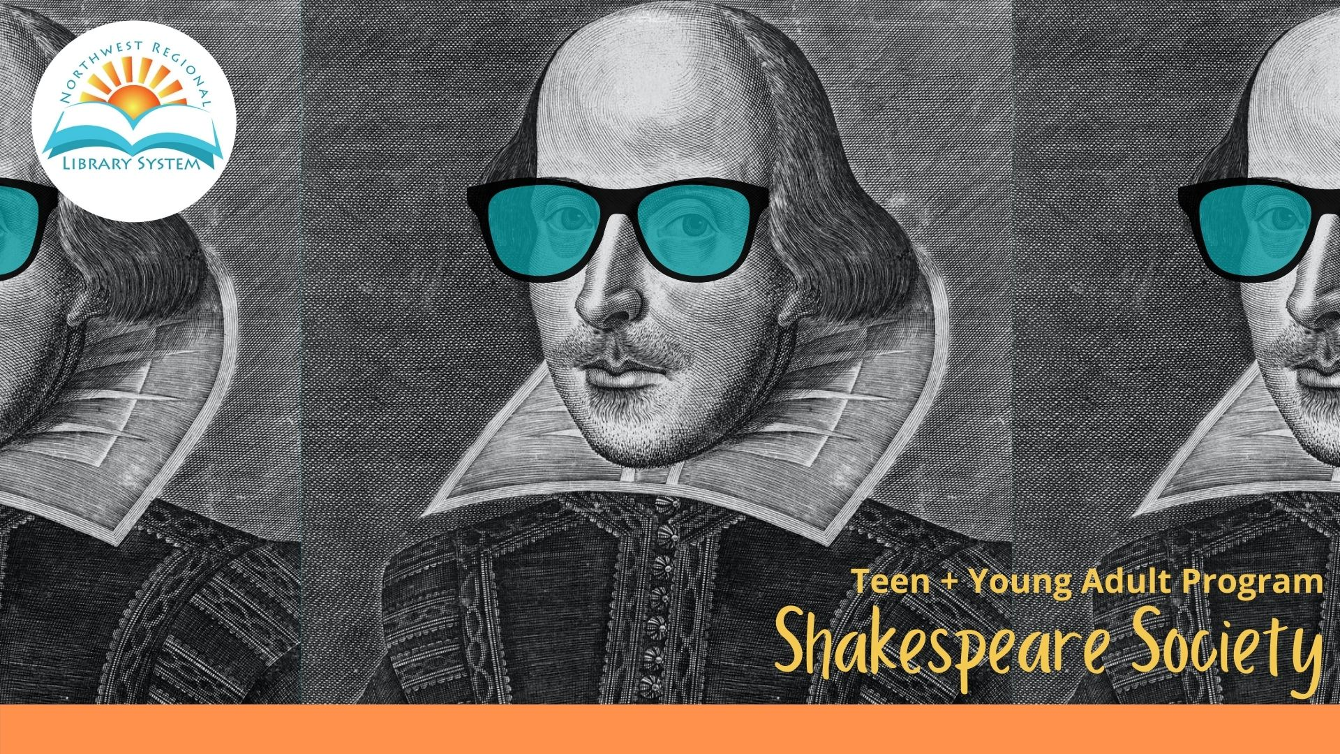 Image of William Shakespeare wearing sunglasses in blue tint