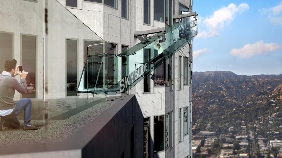 Glass Slide Ride On A Skyscraper