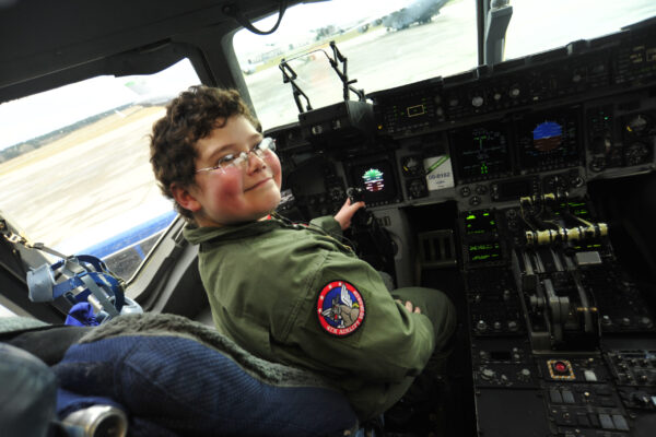 Owain In the Cockpit at Joint Base Lewis/McChord