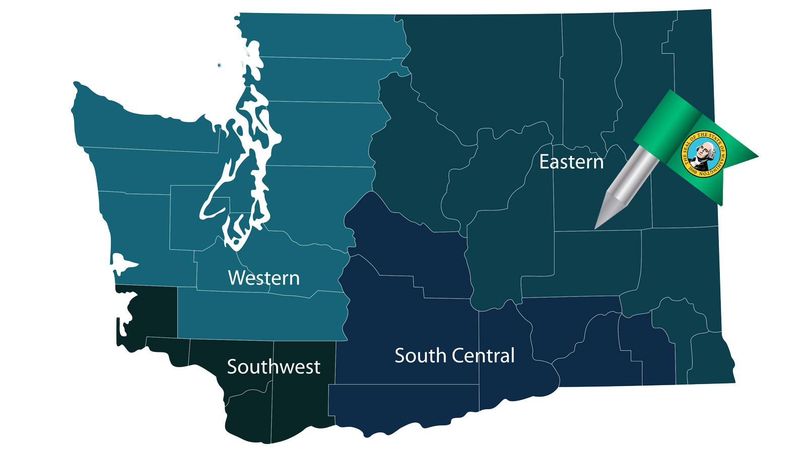 Map of Washington with pin in Eastern Washington region