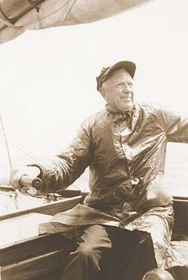 Gilbert Prince on sail boat in Pacific Ocean