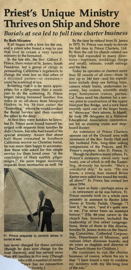 Burial at Sea Charter Business newspaper article