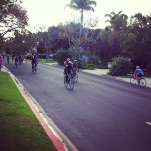 Bikers on the streets of the Hollywood Riviera as part of the Herbalife Triathlon