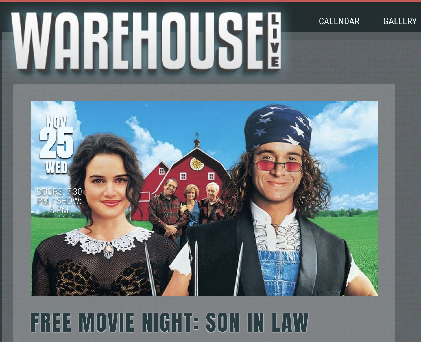 Free Movie Night: Son in Law at Warehouse Live