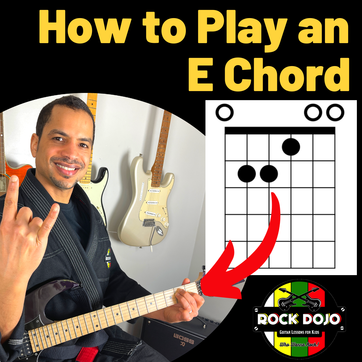 Learn how to play an e chord on guitar with this free online guitar lessons for kids