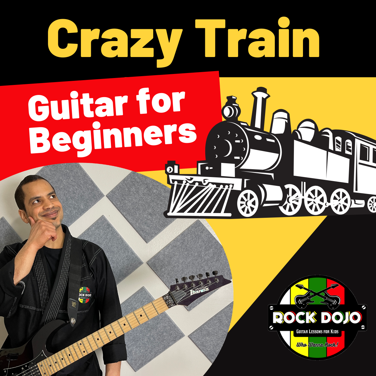Learn how to play crazy train on guitar with crazy train tabs onscreen.