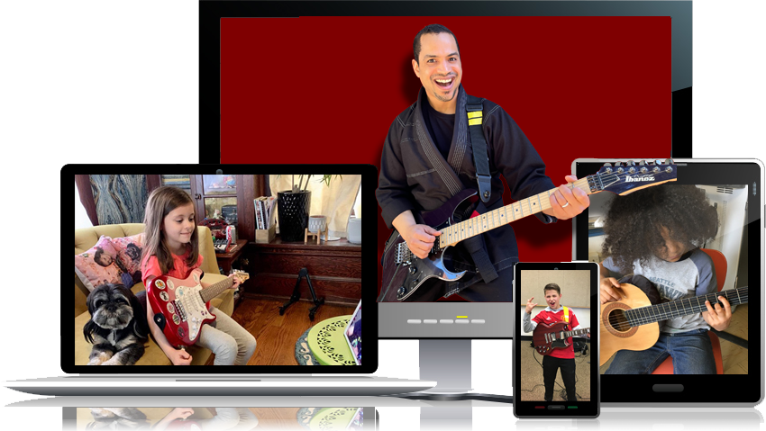 online guitar lessons for kids. Rock dojo is where you can get a black belt in rock!