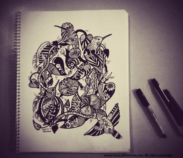 Hummingbird Sketch by Jessica R. Herrera