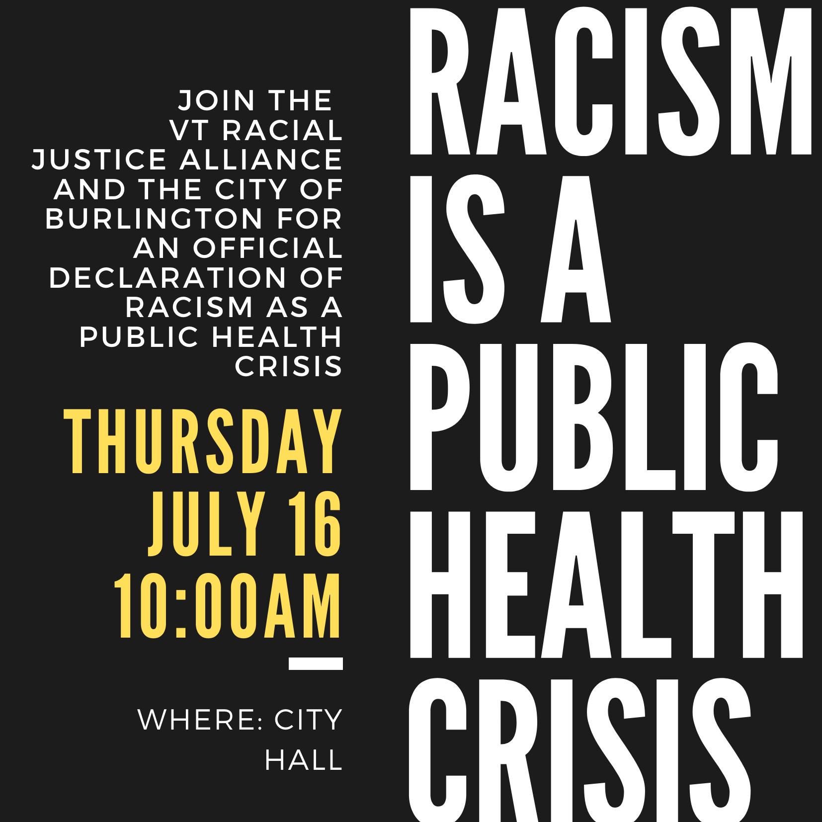 Burlington Declaration that Racism is an Emergency Health Crisis
