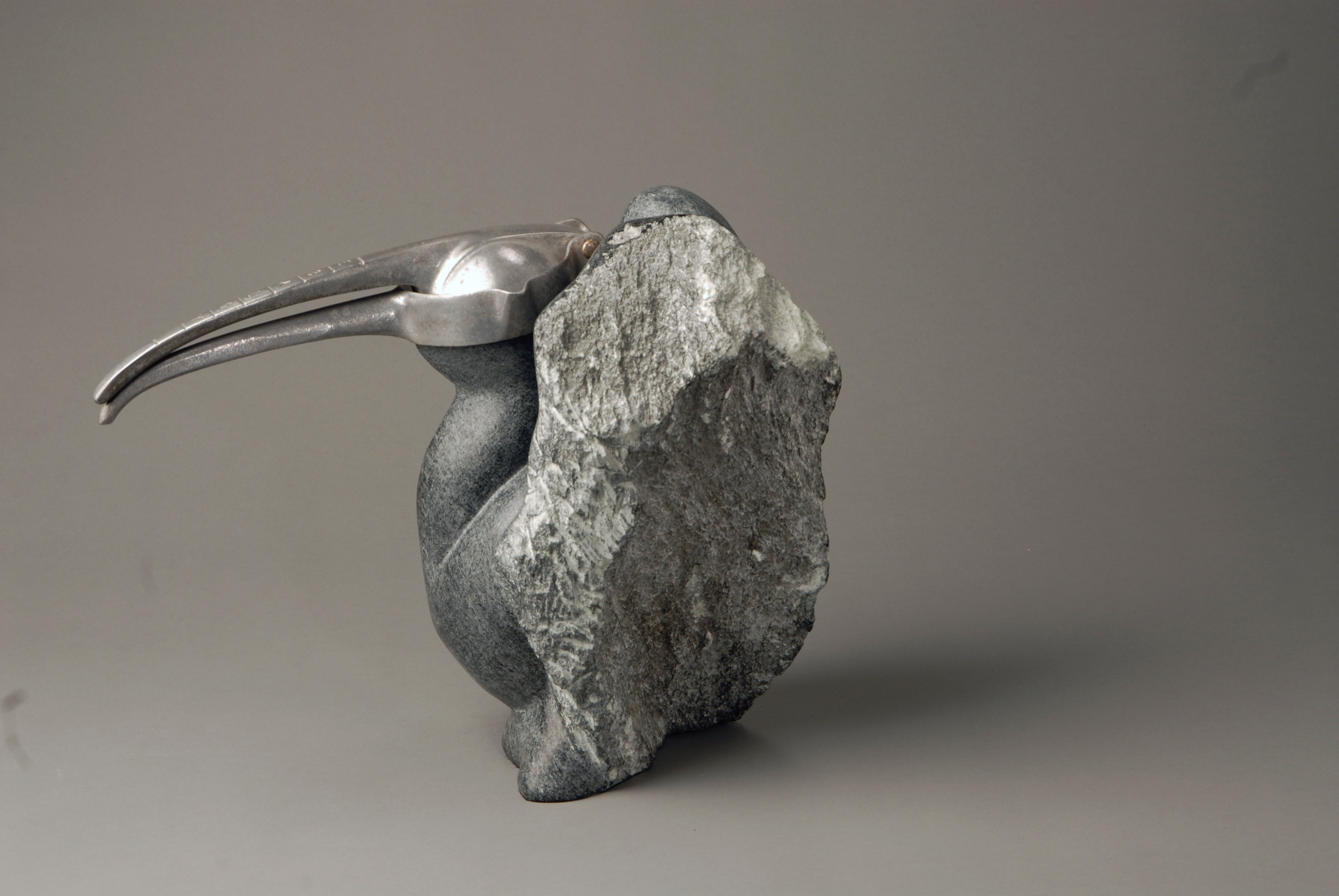 Stone  and found object figurative sculpture