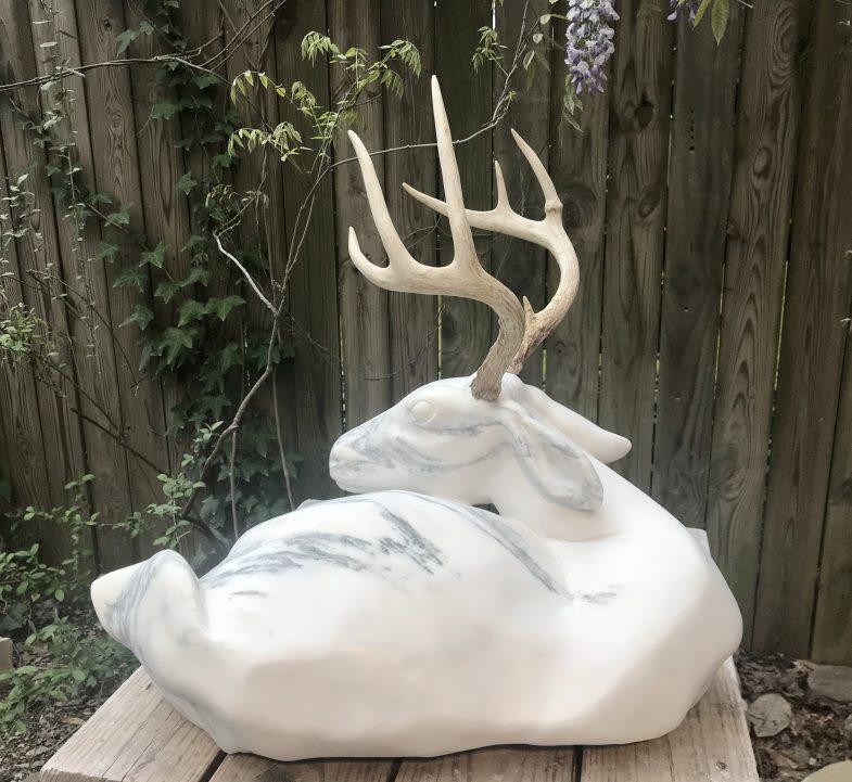 marble deer sculpture