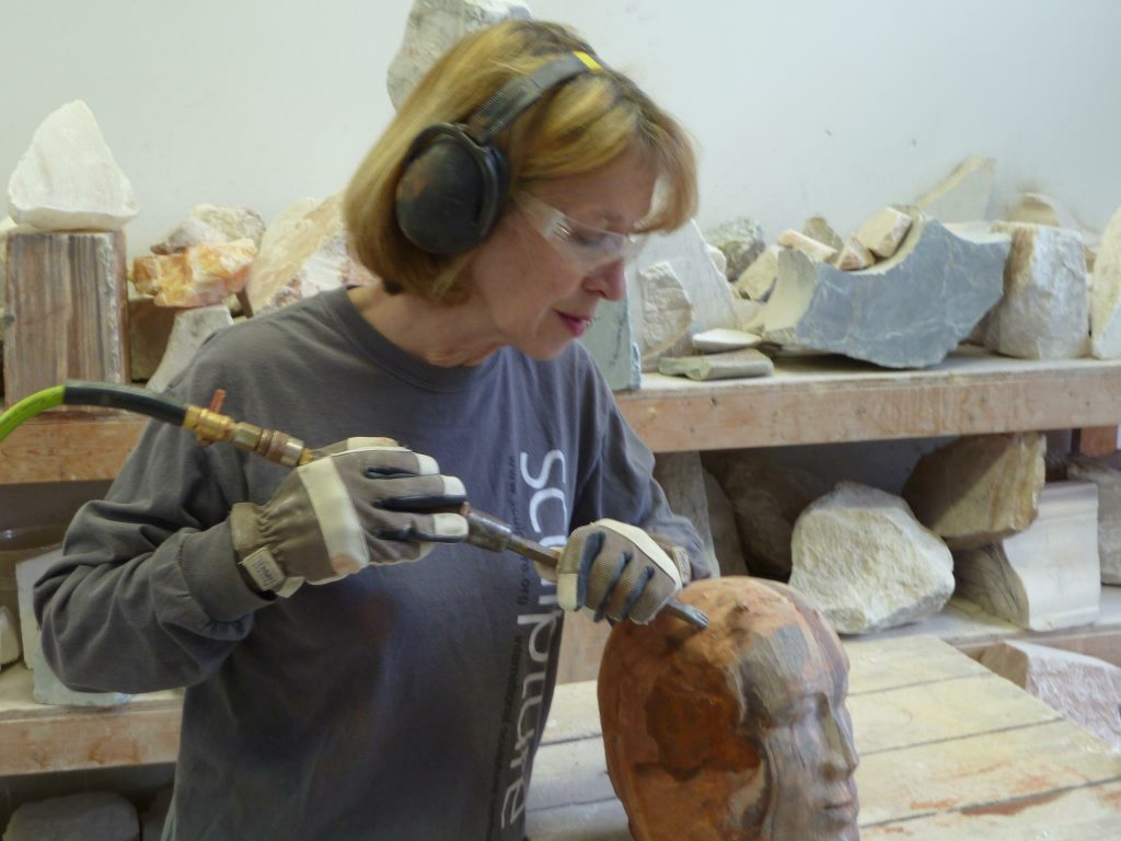 stone sculpture using a pneumatic tool
