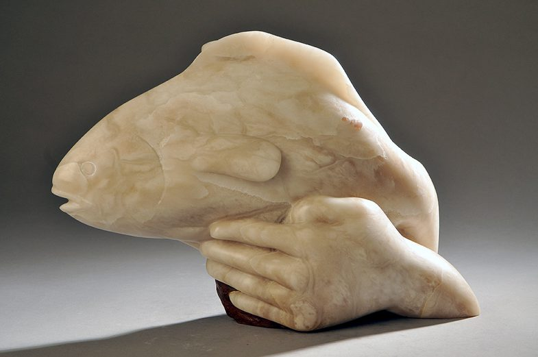 Stone Fish and Hand Sculpture, Pisces