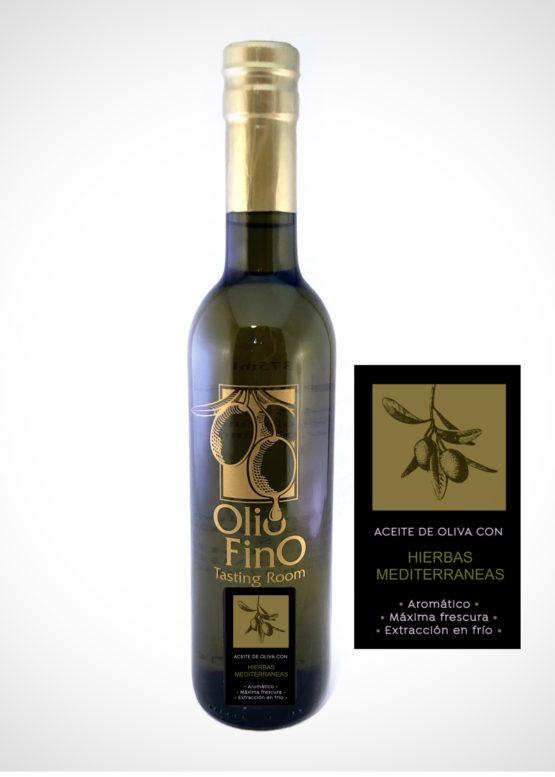 aceite de oliva con hierbas mediterraneos