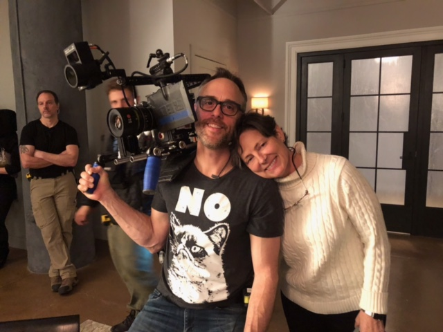 Mairzee Almas with Niels Alpert on the set of Iron Fist