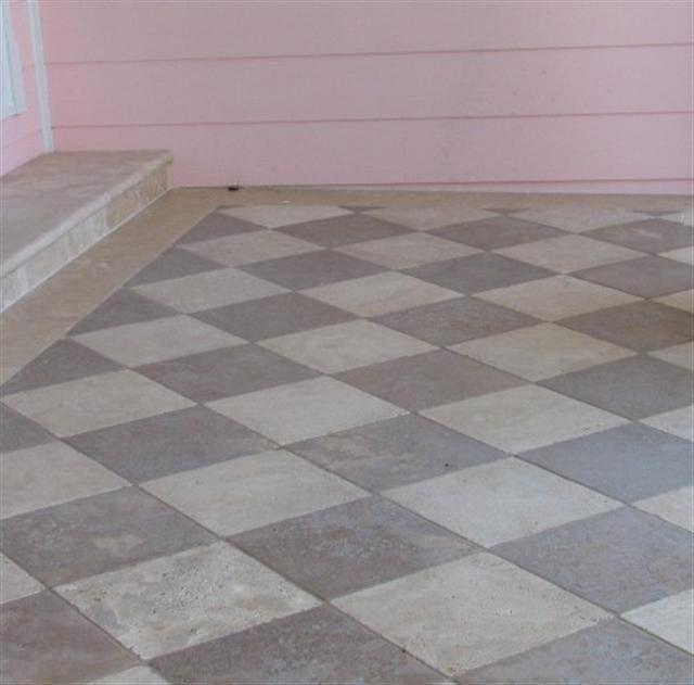 checker pattern travertine