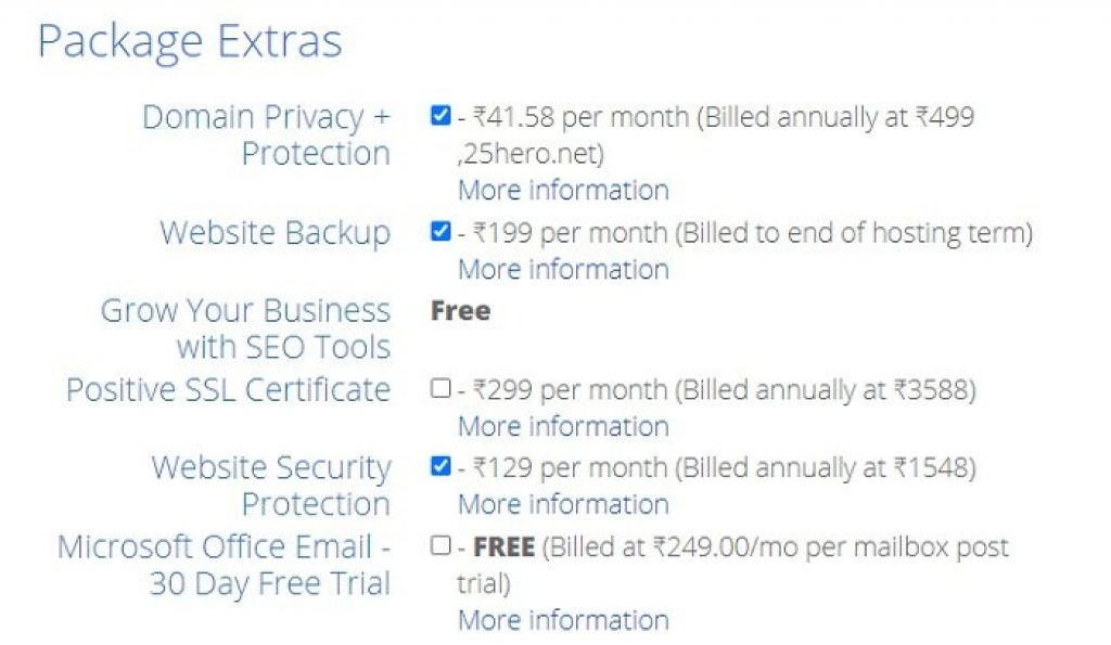 Bluehost Recommended Extras Package for security