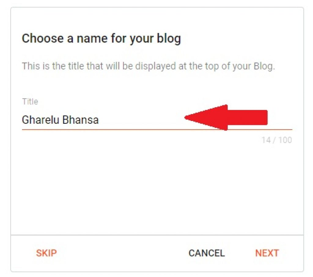 Choose a name for you blog on blogger