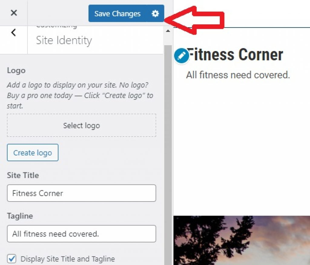 Save changes to Blog setting