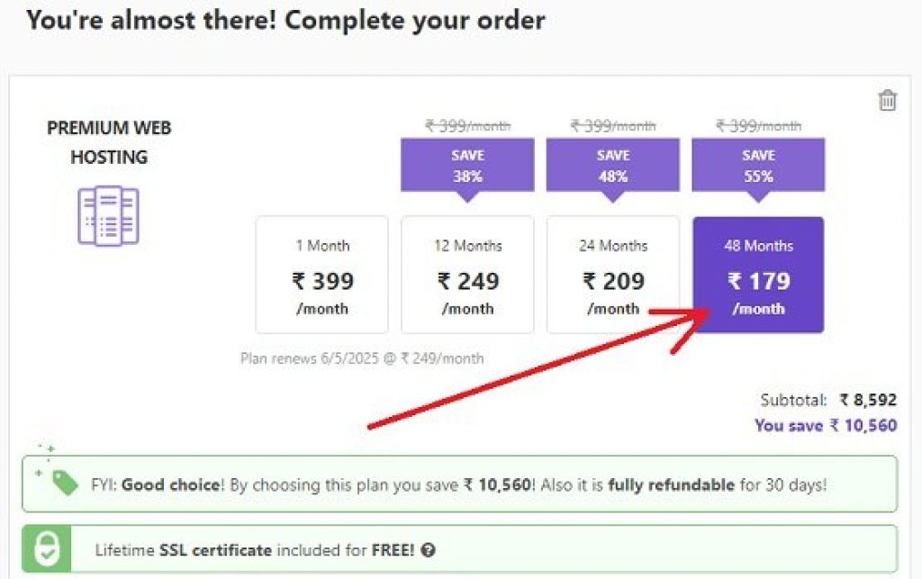 Select how long you want to sign up with Hostinger plan