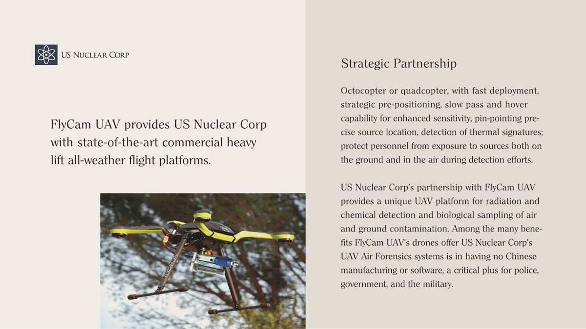 FlyCam UAV provides US Nuclear Corp with state-of-the-art commercial heavy-lift all-weather flight platforms.