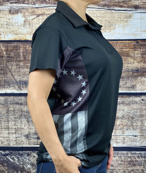 Betsy Ross Flag Polo Shirt Subdued Style Womens