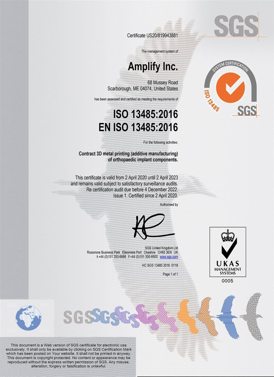 Amplify Additive ISO Certification Additive Manufacturing