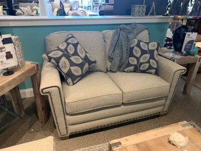 Bexley Loveseat with Contrasting Pillows and Nailhead
