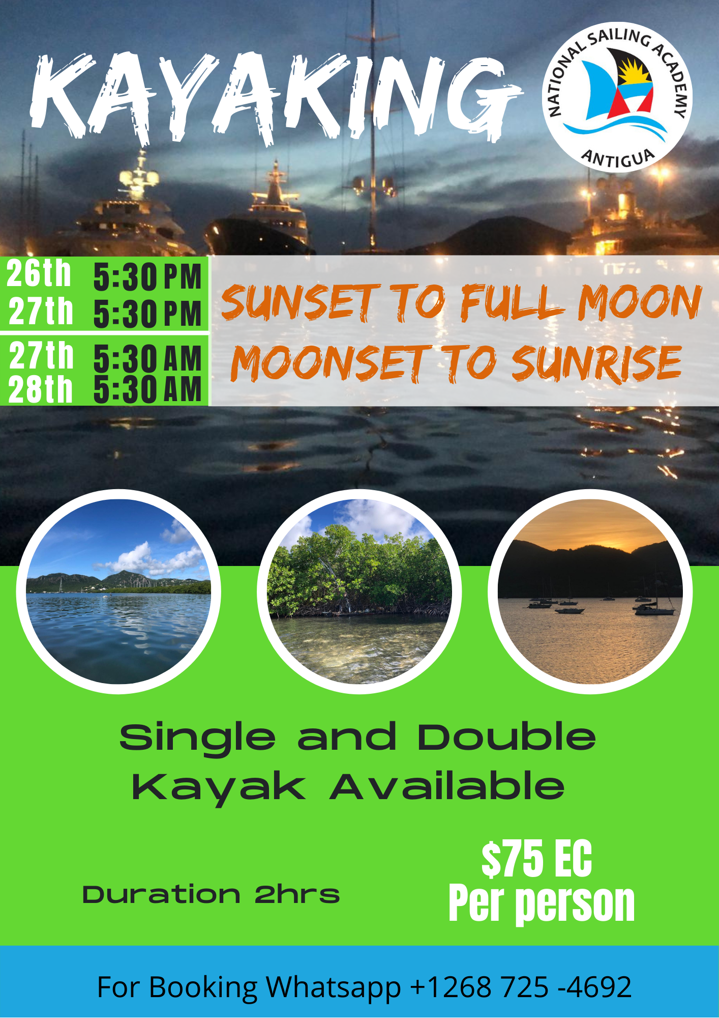 Sunset Sunrise and Full Moon Kayak