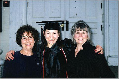 Marijke, college graduate with her Grandmas
