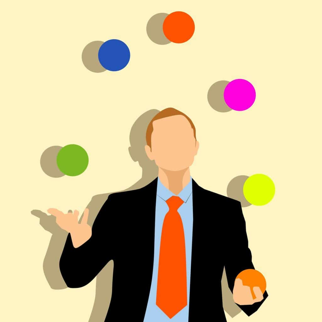 Illustration of business man juggling