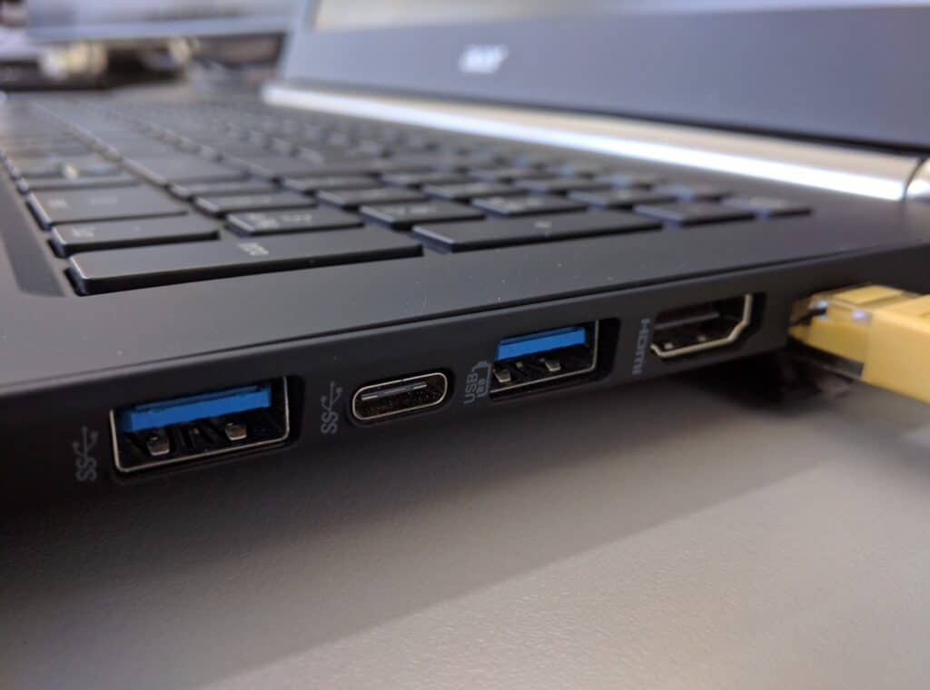 The side of the laptop showing what ports are available
