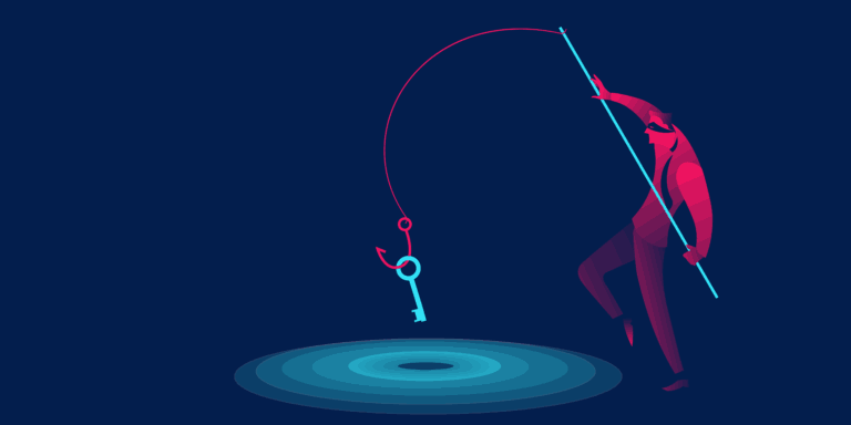 A artistic rendition of a man fishing a key in a pond symbolizing the cyber-crime phishing