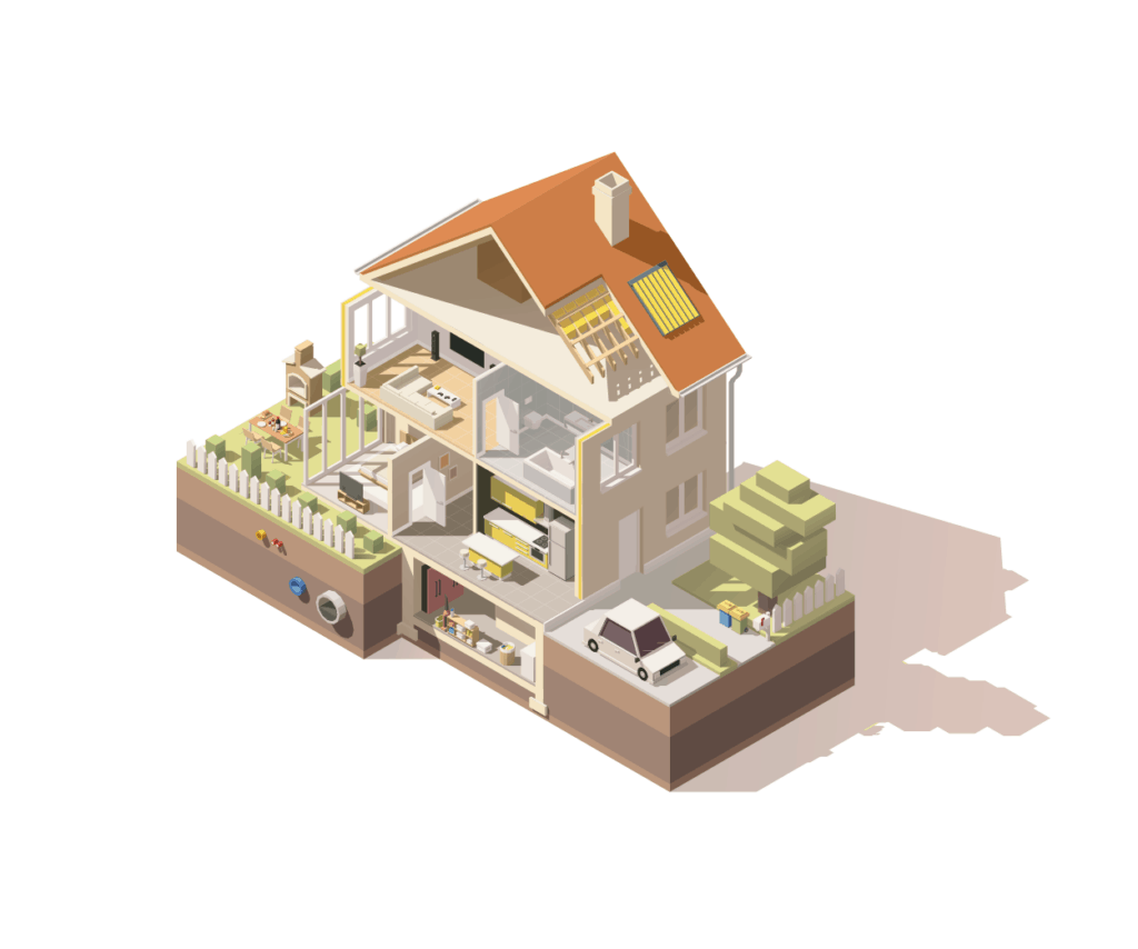 cross-section of an average home