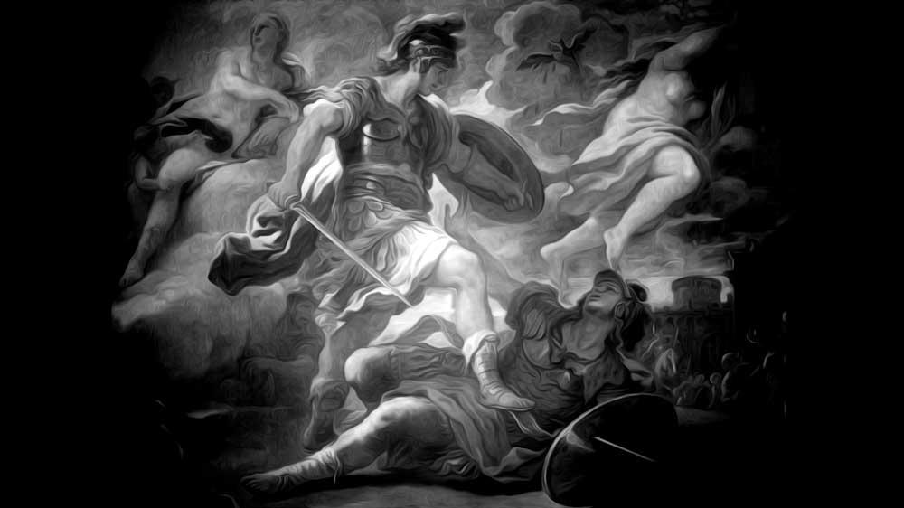 Aeneas and Turnus fighting